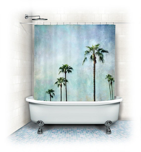 Palm trees shower curtainaqua home by vintagechicimages on for Palm tree bathroom ideas