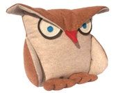 Disgruntled Owl - 12 inch eco felt pillow cover oatmeal and copper - DancingArethusa