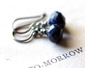 Sapphire Earrings on Sterling Silver - September Birthstone Jewelry Midnight Navy Blue Drop Earrings