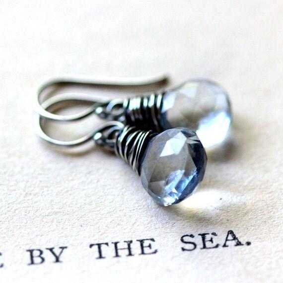 Blue Gemstone Earrings, Mystic Blue Quartz Wire Wrapped in Oxidized Sterling Silver -Tide - Ocean Summer Beach Fashion