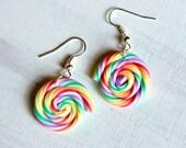 Rainbow lollipops earrings - miniature polymer food jewelry