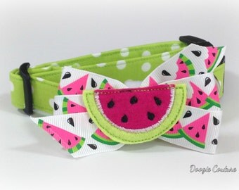 Summer Time Watermelon Dog Collar Size XS through Large by Doogie Couture Pet Boutique