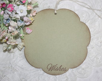Wish Tree Wedding Tags - Soft Green Flowers - Birthday Wish Tags - Shower Wish Tags