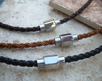 Braided Leather Necklace for Men with Hexagon Stainless Steel Magnetic Clasp, Mens Jewelry, Mens Necklace, Fathers Day, Groomsmen