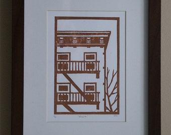 Original Linocut Print - Brooklyn building in sepia - Free Shipping