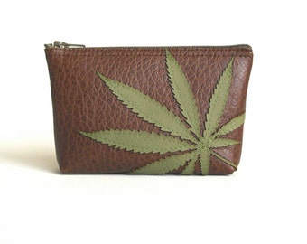 Vegan Leather Mini Zipper Bag - Pot Leaf Pouch - Green Marijuana Leaf Silhouette on Brown Vegan Leather