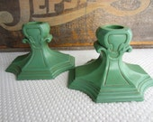 Vintage Ornate Art Deco Frankart Green Metal Candle Holders