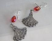 Hand Fan Earrings Antiqued Silver Red Crystal Brass Stamping Tassel Fan Dangle Earrings Hand Fan Dangle Floral Dangle Brass Metal Fan Shape