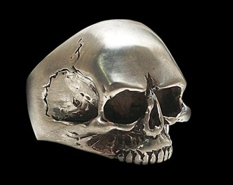 925 Solid Sterling Silver Keith Richards Skull Ring - ALL SIZES