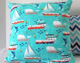 "114"" x 14"" Decorative Pillow Cover Nursery Decor Baby Boy Sailboats and Chevrons Pillow Cover"