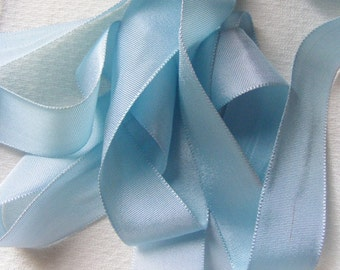 Vintage 1930's French Satin Woven Ribbon 15/16 inch Gorgeous Antoinette Blue