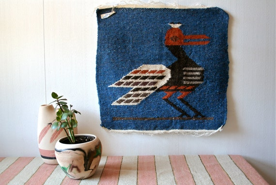 Vintage Ecuadorian Woven Textile Wall Hanging Colorful Wool