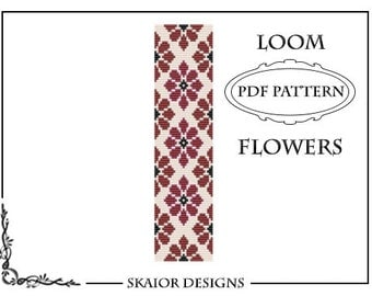 Loom Bead Pattern Flower Bracelet Square Stitch Pattern Daisy Loom Pattern Tribal Seed Beads Beading Pattern Red Blossom Bead Weaving PDF
