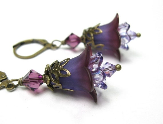 Handmade Flower Earrings, Tanzanite, Purple, Amethyst, Vintage Style Jewelry, Floral Jewelry, Dangle Earrings, Under 25, Radiant Orchid