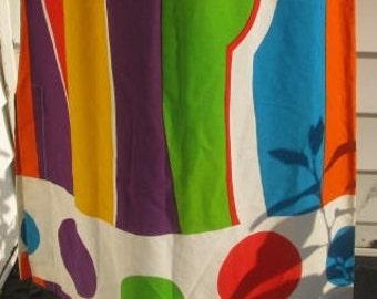 Vintage 1970s Mod Stripes n Polka Dots Maxi Skirt XS S