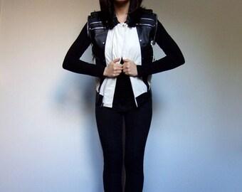80s Leather Vest Colorblock Black White Studded Vest Punk Rock Rocker ZIpper - Small Medium S/ M