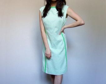 60s White Lime Shift Striped Summer Dress Sundress Sleeveless Tennis Dress - Large L