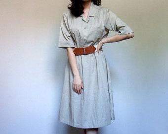 80s Shirt Dress Beige Causal Simple Day Dress Summer Sundress Classic - Large L