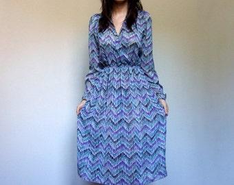 Vintage Sheer Dress See Through Purple Green White Summer Dress V Neck Simple - Large L