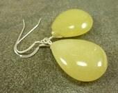 Yellow Aventurine Teardrop Earrings Sterling Silver