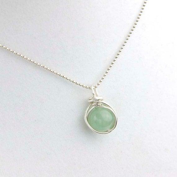 green aventurine pendant necklace green gemstone necklace