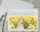 Ranunculus Photo Notecard - Yellow Floral Greeting Card, Stationery, Blank Note Card