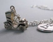 Antique Car, Jalopy Necklace, Car Charm, Antique Car Keychain, Sterling Silver Charm, Engraved, Personalized, Monogram