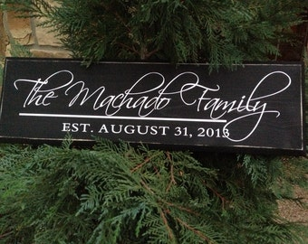 Wedding Sign, Family Established Sign, Personalized Family Sign