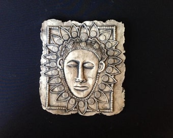 African Mask Ceramic Pottery Porcelain Relief Sculpture Tile