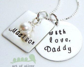 Handstamped jewelry - Daughter necklace - Personalized charms - Daddy-daughter necklace