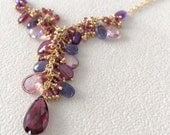 Semiprecious Gemstone Pendant Necklace in Gold Vermeil with Garnet, Amethyst, Rhodolite, Iolite, Mystic Pink Quartz