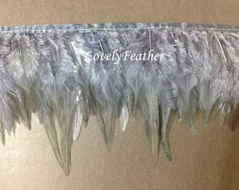Hackle feather fringe of charcoal grey color  2 yards trim
