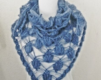 Crochet shawl scarf, winter Neck Warmer,  women scarves, Blue, Denim, Jeans blue, Marine, Crochet Shawl