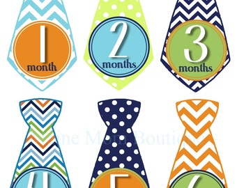 Sale Monthly Baby Boy Tie Stickers  Milestone Stickers  Baby Month Stickers Bodysuit Sticker Monthly Photo Stickers Bodysuit