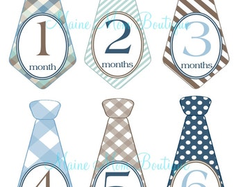 FREE GIFT, Monthly Baby Boy Tie Stickers, Baby Boy Month Stickers,   Milestone Stickers, Bodysuit Photo Prop Stickers