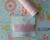 BLOSSOM TWINERY - 20 Yards - Colorful Striped kitchen String - baker's twine cord - wrapped neatly on a card. Other colors available