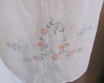 Vintage Sheer Embroidered Nylon Half Apron with Pocket