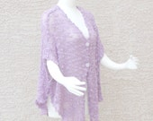 Handmade Hand Knit Airy Summer Poncho Summer Cape  Cover up Orchid Plus Size Cotton Art Yarn
