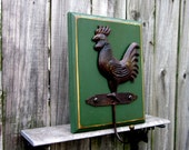 Rooster Hook, Wall Hook, Brown Metal Hook, Painted Wood, Rooster, Rustic Decor, Kitchen Hook, Towel Hook, Coat Hook, Key Hook, Green, Brown