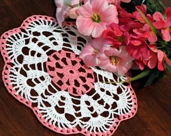 Pretty White and pink flower Crochet  Doily 3