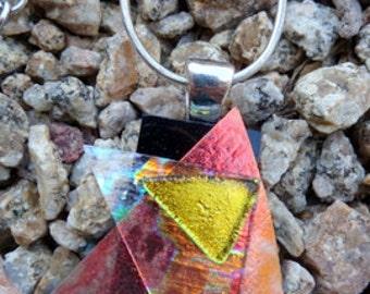 Orange and Gold Glass Pendant