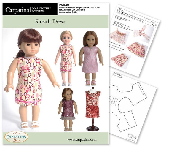"""Sheath Dress Pattern as Downloadable PDF, Comes in 2 sizes: for 18"""" American Girl and slim Carpatina dolls"""