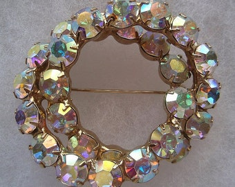 Vintage Rhinestones Larger Aurora Borealis PIN Sparkle Round Double Circle Design Hollywood Glamour