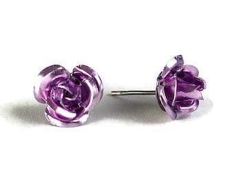Sale Clearance 20% OFF - Lavender rosebud stud earrings (277)