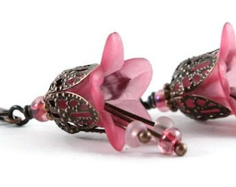 Pink lily flower and antique copper leverback earrings (162) - Flat rate shipping