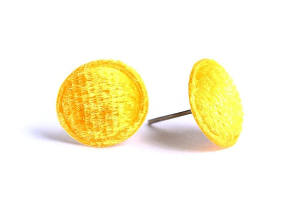 Yellow sun velvet round stud earrings READY to ship (318) - Flat rate shipping