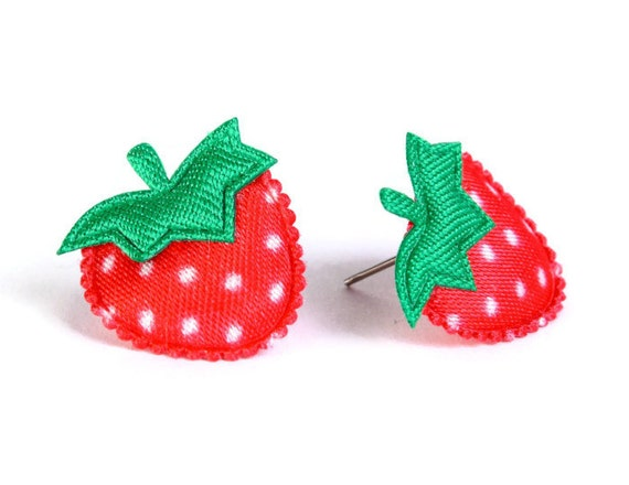 Red strawberry felt satin applique hypoallergenic studs earrings READY to ship (427) - Flat rate shipping