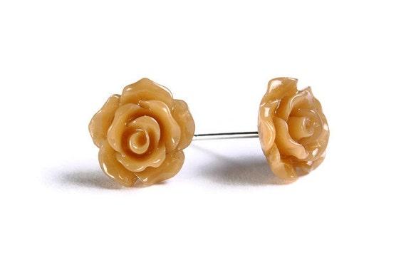 Sale Clearance 20% OFF - Petite brown rose rosebud hypoallergenic stud earrings (724)