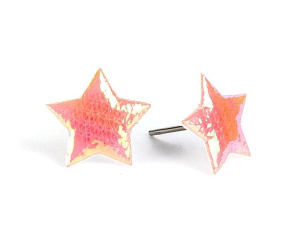 Peach orange shiny iridescent star fabric hypoallergenic stud earrings (399) - Flat rate shipping