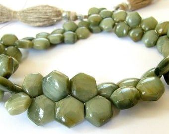 Green Cat's Eye Hexagon Briolettes. Full Strand. 6mm - 10mm (8k21a)